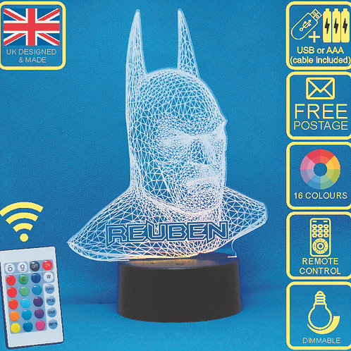 Personalised Batman LED Bedside Lamp