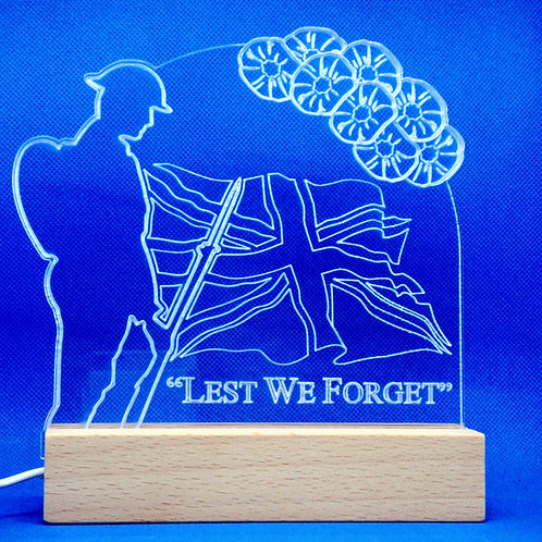 Lest We Forget White LED Wooden Base Lamp