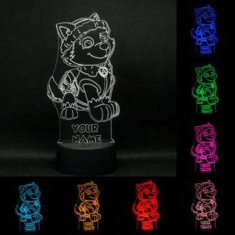 Personalised Paw Patrol 'Everest' LED Kids Bedside Lamp