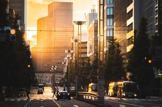 八丁堀の夕日