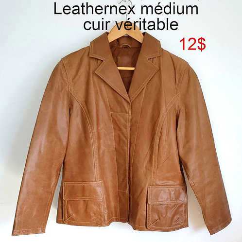 manteau cuir tan médium Leathernex