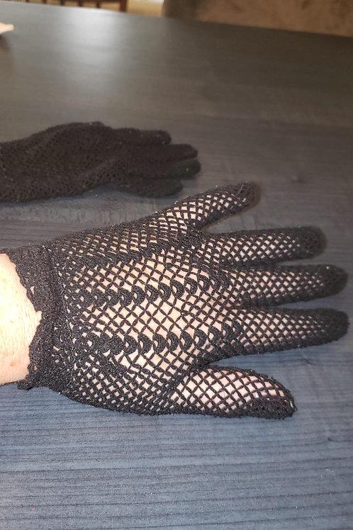 gants vintage crochet noir small
