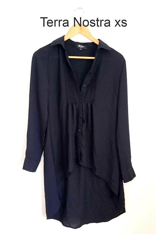 chemise tunique noire Terra Nostra xsmall black tunic shirt