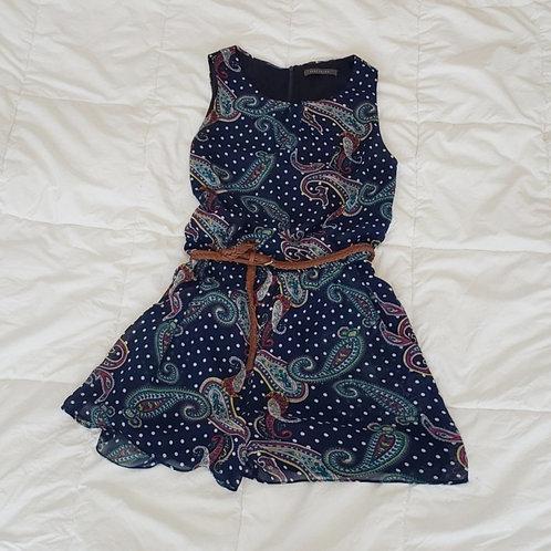 jumpsuit court Suzy Shier bleu pois et paisley small