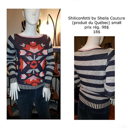 chandail tricot designer Shiliconfetti by Sheila Couture small