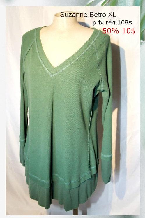 vente chandail tunique xl vert Suzanne Betro