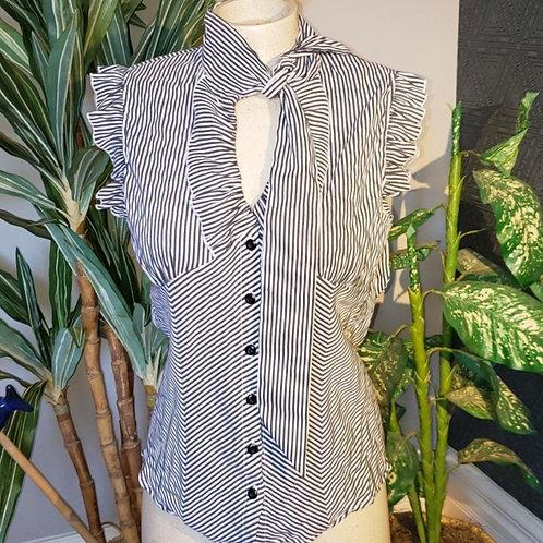 top blouse rayée gris et blanc médium