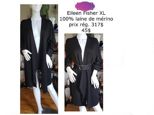 veste ouverte noire 100% mérino XL