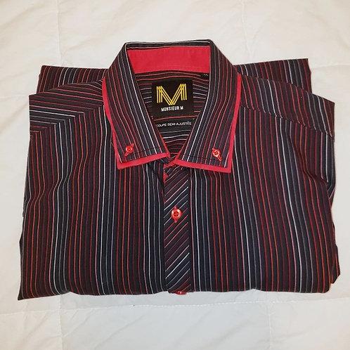 chemise homme Monsieur M rouge et noir large