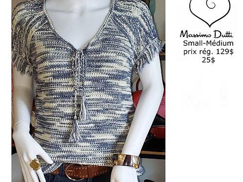 vente chandail tricot bleu crème Massimo Dutti small médium