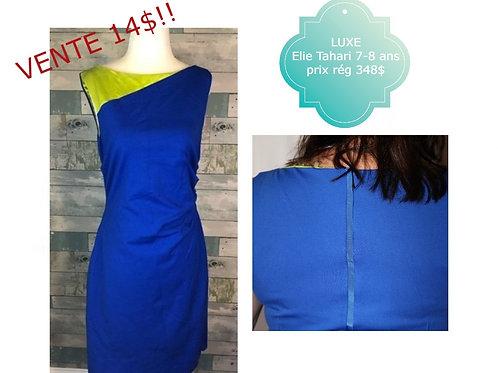vente luxe Elie Tahari robe 8 ans medium bleu