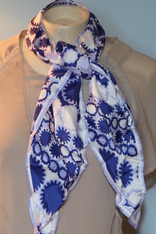 foulard vintage blanc mauve violet