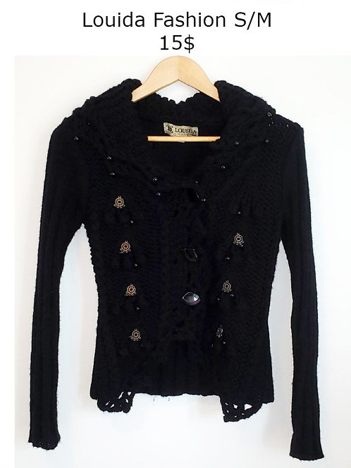 veste cardigan tricot noir small médium Louida Fashion