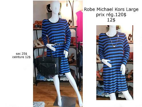 robe Michael Kors large rayée noir bleu