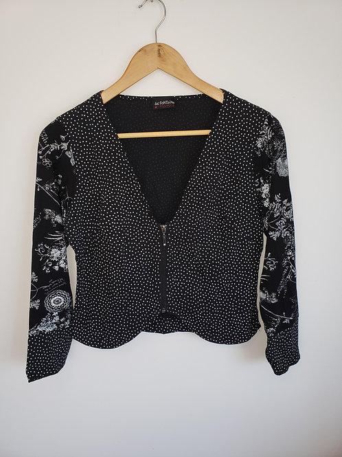 veste boléro Luc Fontaine designer Médium short vest black white