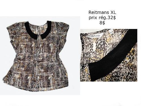 blouse Reitmans noire motifs XL