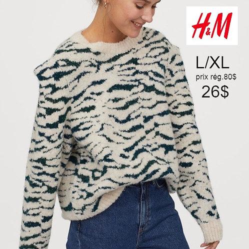 Chandail tricot crème et vert H&M large