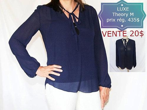 vente luxe blouse THEORY médium soie bleue