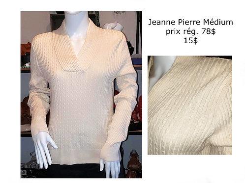 Chandail tricot crème Jeanne Pierre médium