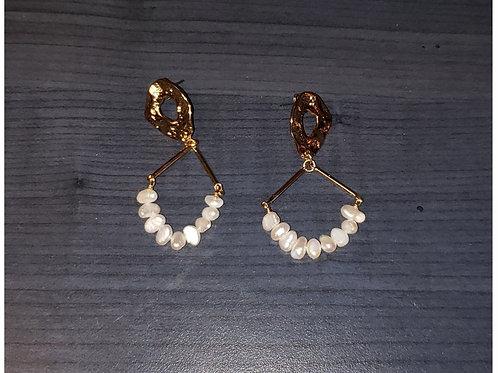 boucles d'oreilles Massimo Dutti dorées avec perles médium