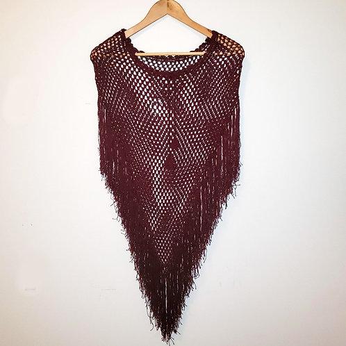 poncho crochet bourgogne