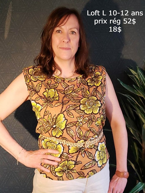 chandail manche courte t-shirt lin fleuri Loft large