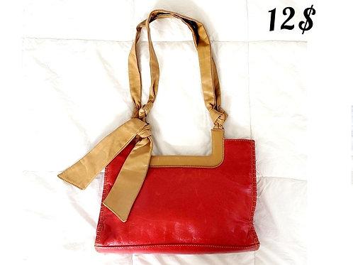 sacoche rouge et tan cuir vintage