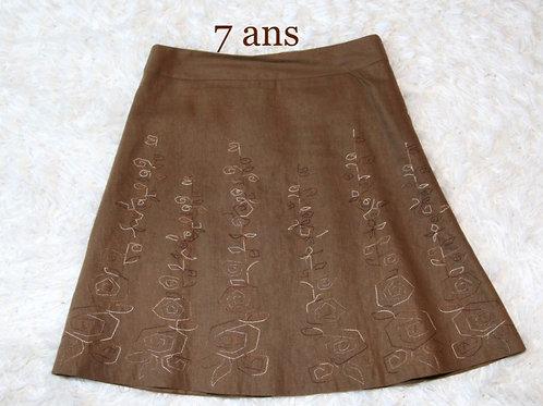 jupe en lin brune doublée 7 ans médium