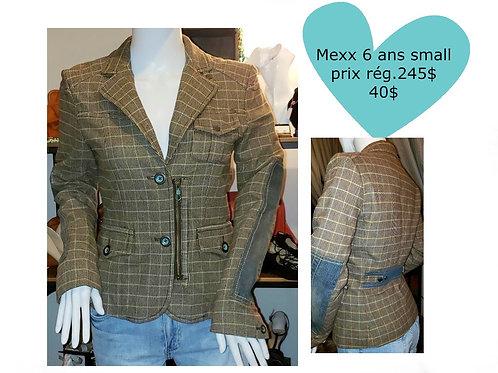 veston blazer Mexx à carreaux en laine et patch jeans 6 ans small