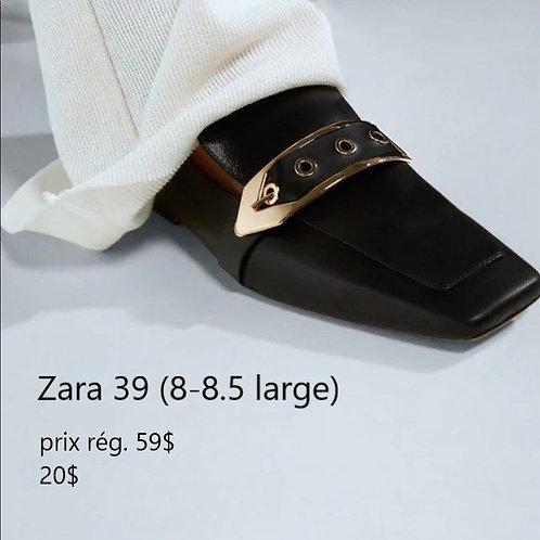 mules cuir noir Zara 39 8 large