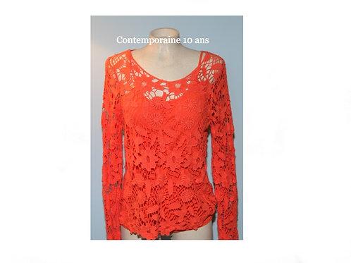 chandail crochet orange Contemporaine Simons 10 ans