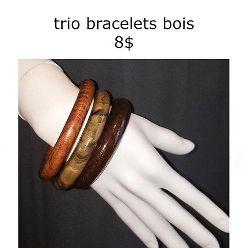 trio de bracelets bois