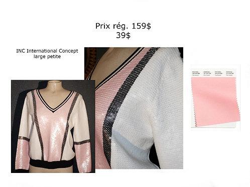 chandail sequins blanc noir rose large petite Inc International Concept