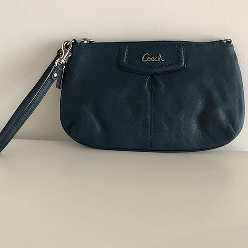 sac Coach poignet bleu paon