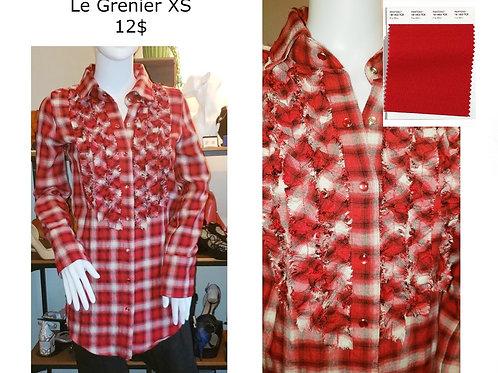 chemise tunique carreaux rouge Xs Le Grenier