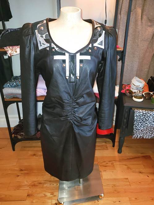 robe cuir luxe Place Vendôme vintage leather dress small