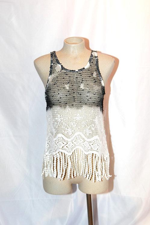 camisole noir blanc crochet franges small