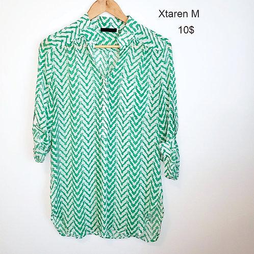 blouse Xtaren médium vert et blanc