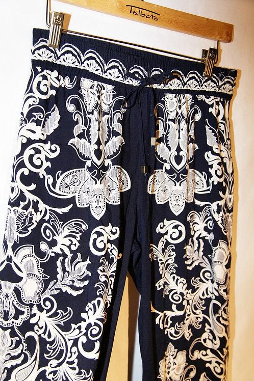 pantalons Kenar small bleu et blanc