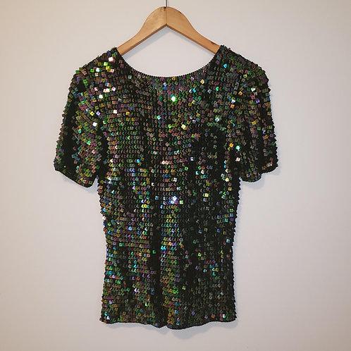 chandail t-shirt à payettes noir médium Tuli