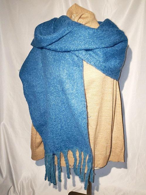 grand foulard bleu sarcelle avec franges