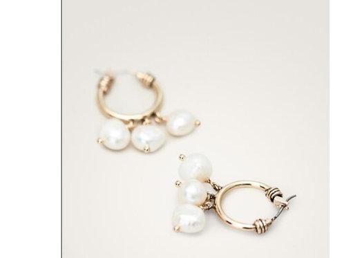 boucles d'oreilles Massimo Dutti dorées avec perles