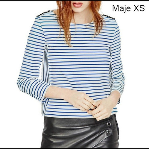 VENTE chandail rayé bleu et blanc MAJE small striped sweater