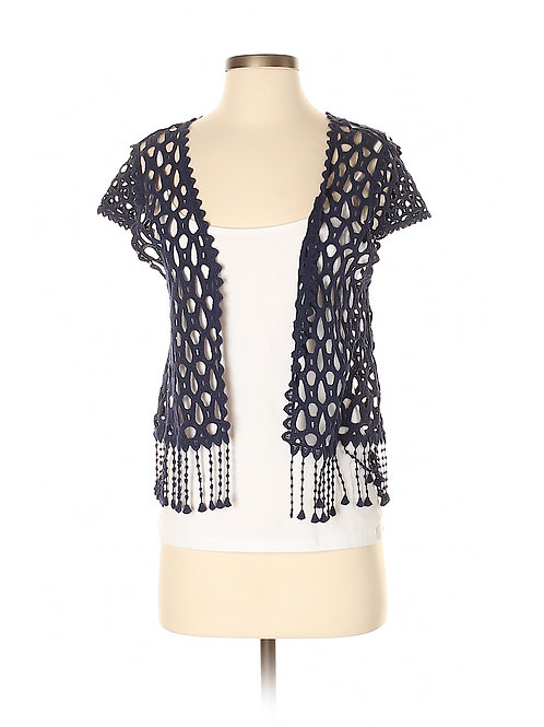 veste boho crochets franges bleue small
