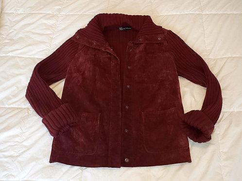 veste suède et tricot bourgogne M Lady Hathaway