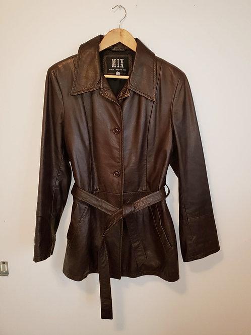 Manteau cuir brun Mix large