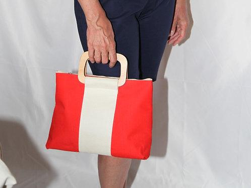 sac sacoche toile orange et crème poignée bois