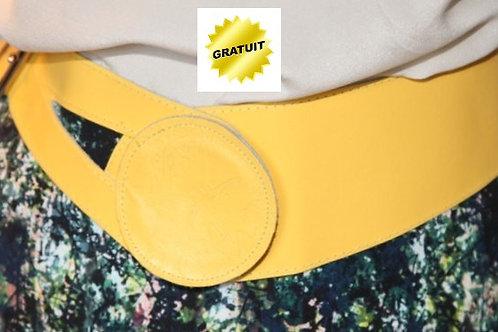 ceinture vintage cuir jaune