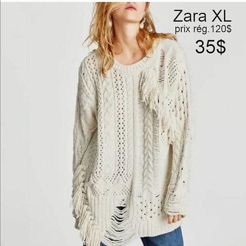 Zara chandail tunique crème XL