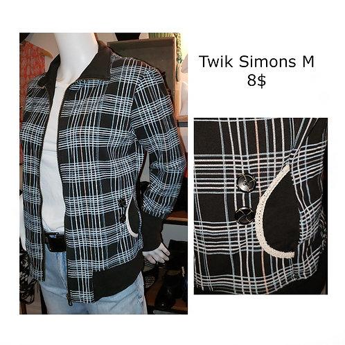 veste à carreaux noire avec zip et poches Simons médium